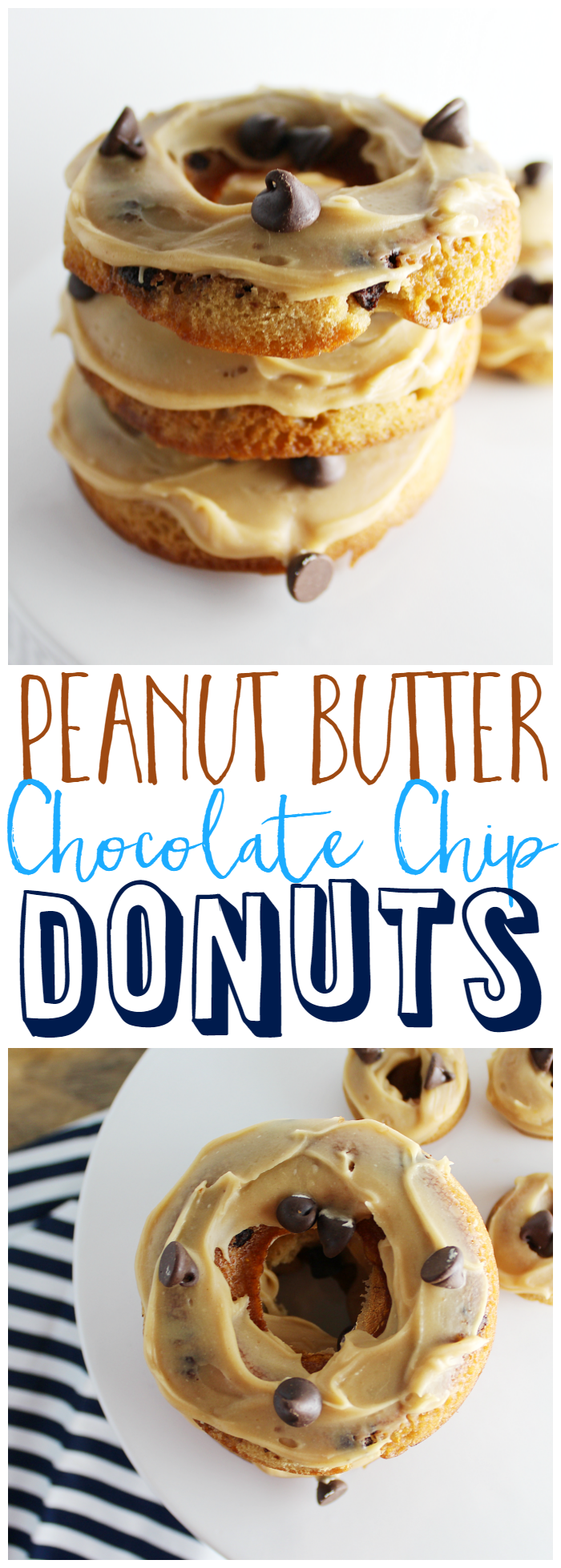 Peanut Butter Chocolate Chip Donuts - I whipped up some yummy Peanut Butter Chocolate Chip Donuts. They are so easy to make and perfect for a sweet breakfast or dessert!