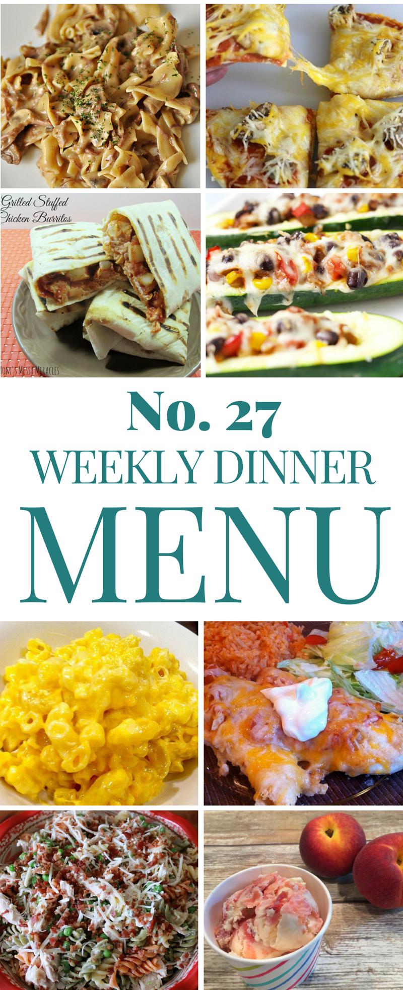 Weekly Dinner Menu 27