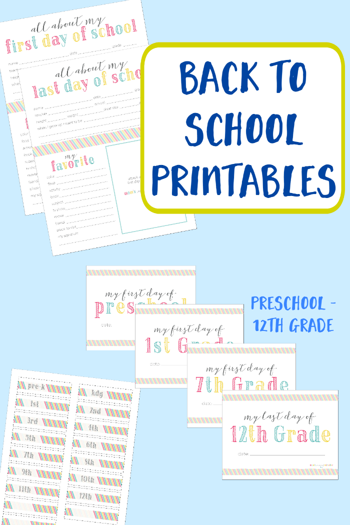 Back to School Printables - First Day Signs, About Pages, and free printables to create a School Memory Box to organize and store all of your child's school memories and work.