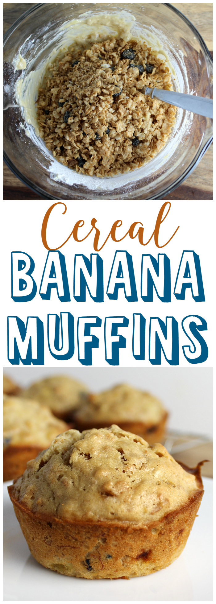Cereal Banana Muffins make a great breakfast, afternoon snack, or sweet treat before bed.