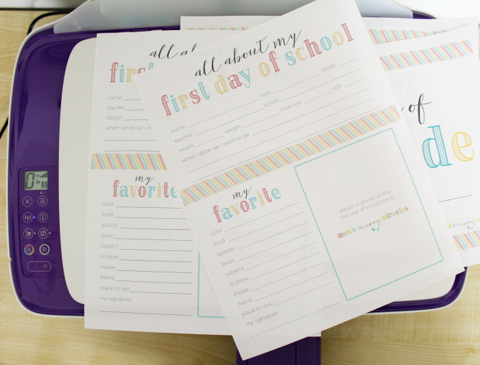 First Day of School About Me Printables