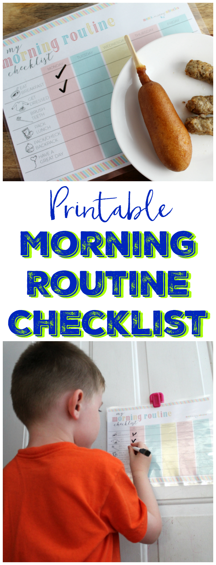 Printable Morning Routine Checklist for Kids - Use our free printable checklist to help mornings go smoother with the kids!