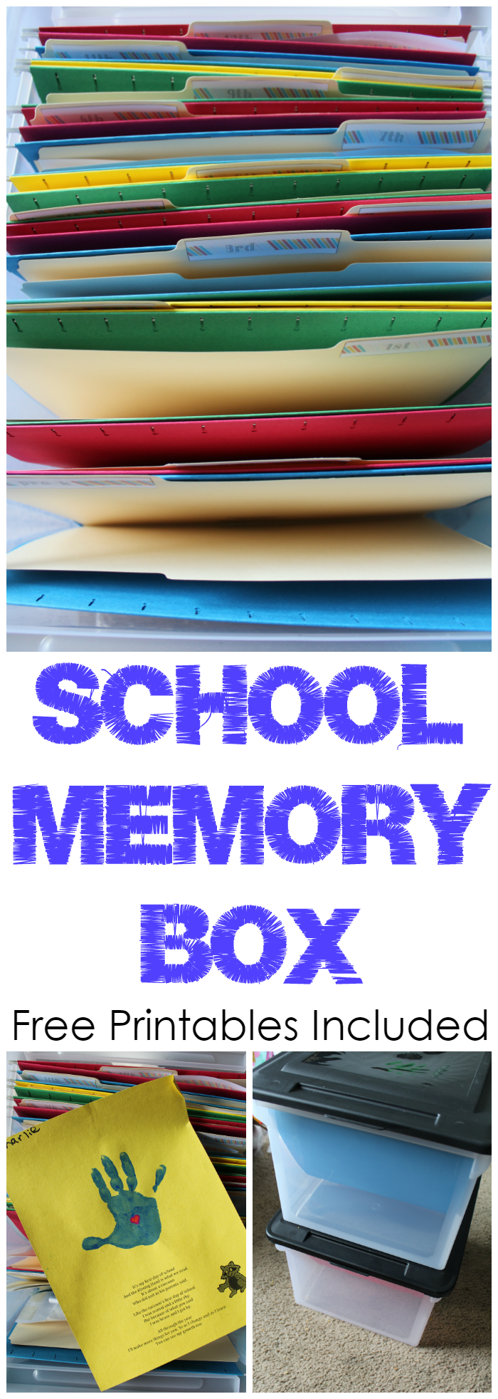 School Memory Box - Use these free printables to create a School Memory Box to organize and store all of your child's school memories and work.