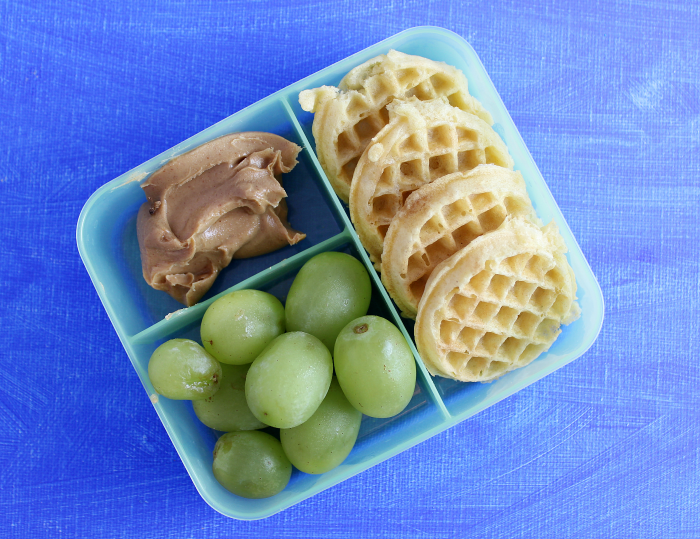 Waffles Peanut Butter Grapes lunch