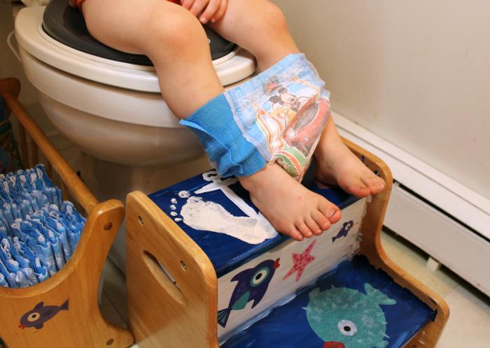 Using Pull-Ups Ocean Themed Bathroom