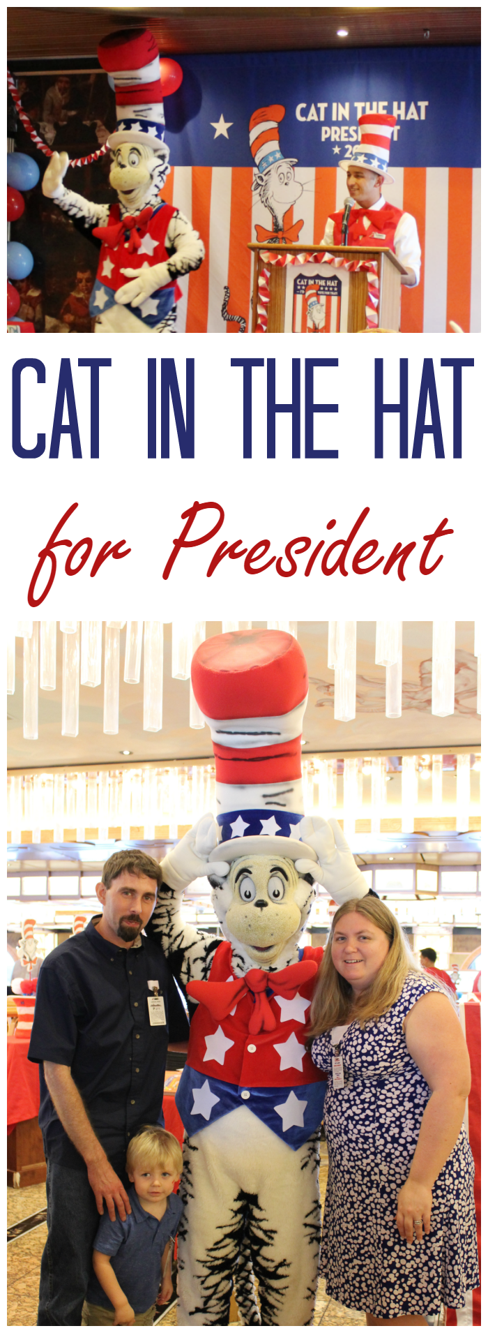 Carnival wants you to Vote Cat in the Hat for President! Join the campaign trail on Carnival ships! A new Dr. Seuss book teaches kids all about the election process.