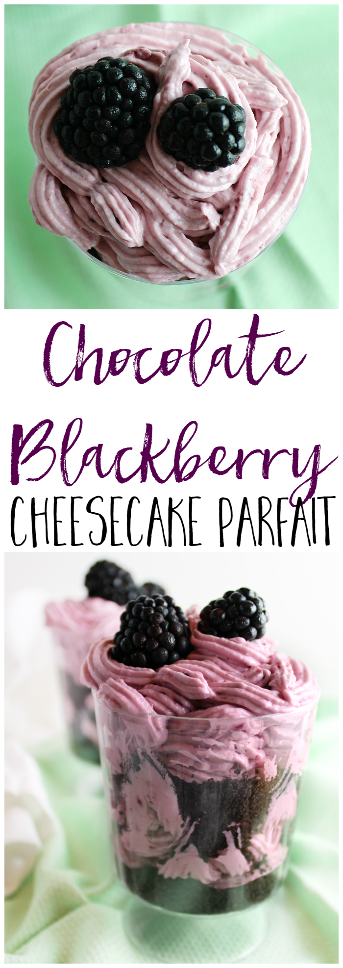These Chocolate Blackberry Cheesecake Parfaits are perfect for any party! Great for black and purple themed!
