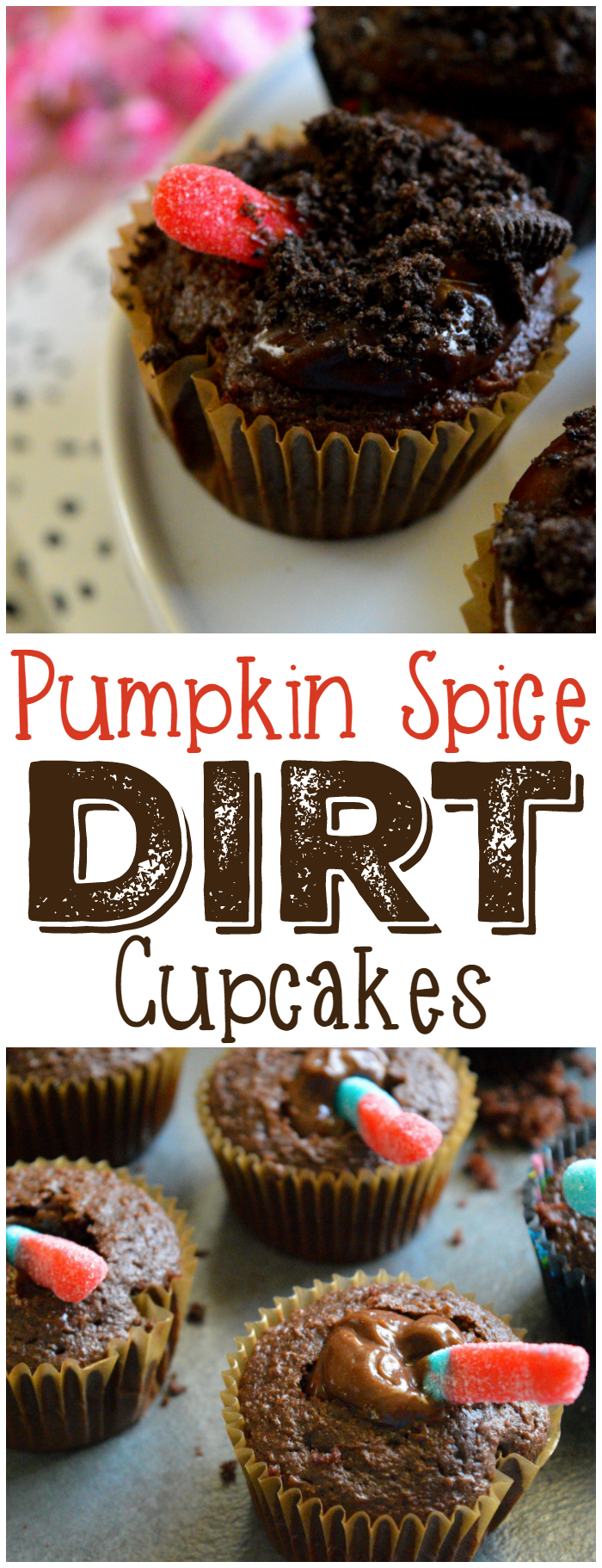 Pumpkin Spice Dirt Cupcakes are a great addition to your fall party menu! Kids can help make them, too!