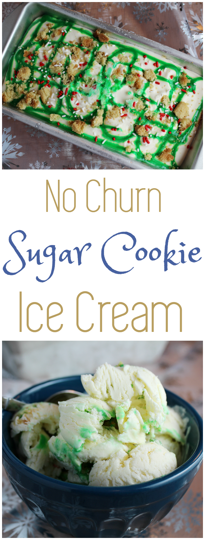 When I think about the cooler months and the holidays, I think about frosted sugar cookies with sprinkles on top. So, that's exactly what I wanted in this No Churn Sugar Cookie Ice Cream.