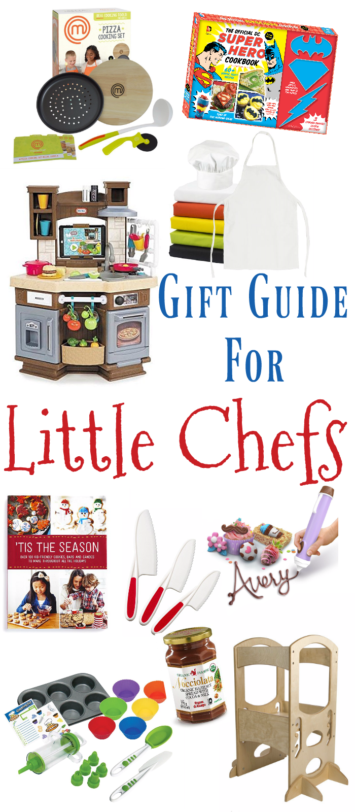 I found some great gift ideas from cookbooks to a chocolate pen! Even if the kiddo on your list has yet to discover the wonders of cooking, these gifts would be a great way to introduce them to cooking.