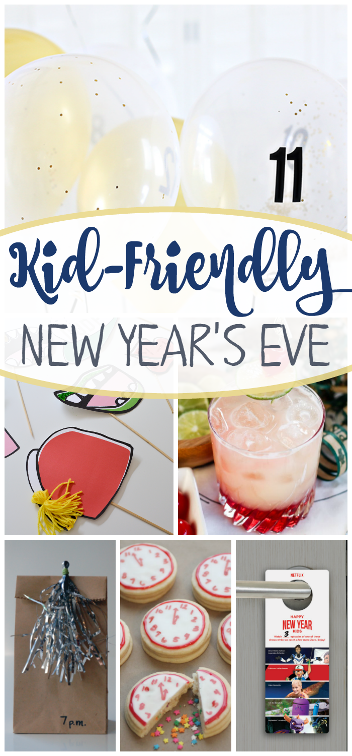 Find everything you need to throw a kid-friendly New Year's Eve party! Food, activities, and drinks!