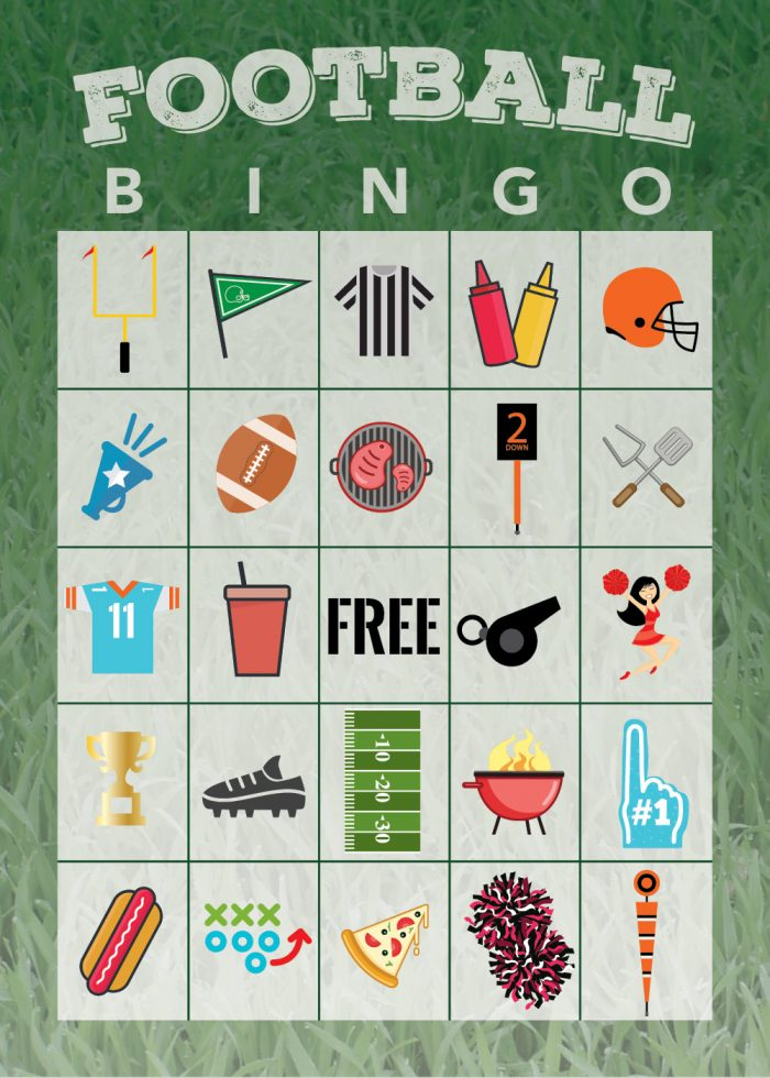 It is a graphic of Revered Free Printable Football Bingo Cards