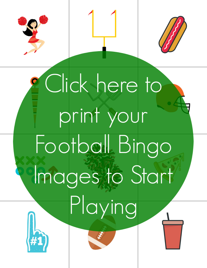 It is a photo of Monster Free Printable Football Bingo Cards