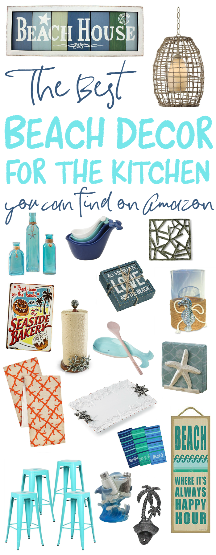 The best beach decor for the kitchen on amazon the for Beach house decor items