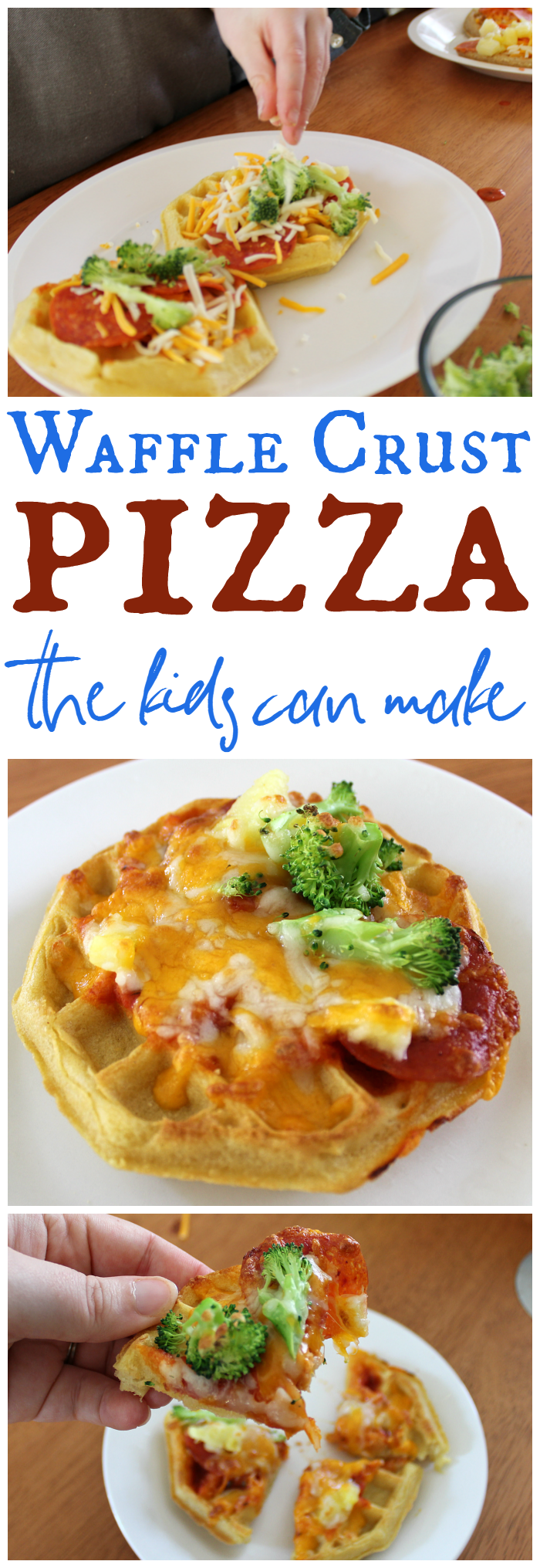 The kids can almost make these Waffle Crust Pizzas entirely on their own! Yum! Perfect for a quick lunch or after school snack.